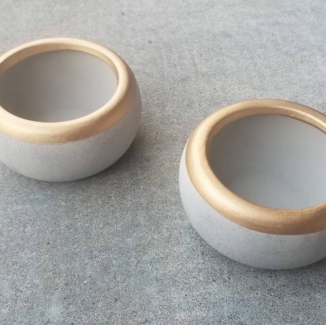 Ceramic Gold-Rimmed Tea Light Holders