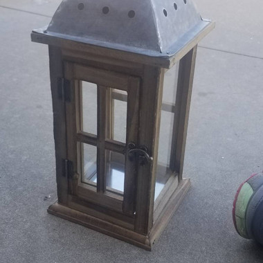 Wooden Lantern with Metal Top 15in- $8 (QTY-1)