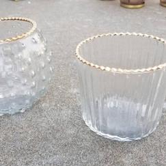 Gold-Rimmed Glass Tea Light Holder