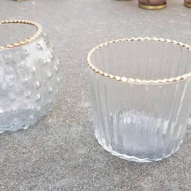 Gold-Rimmed Glass Jars- $2 for both