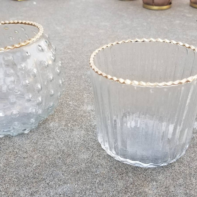 Gold-Rimmed Glass Tea Light Holder
