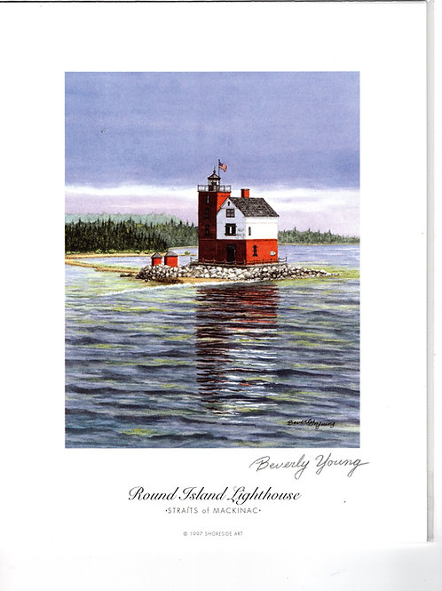 Round Island Lighthouse Print by: Beverly Young