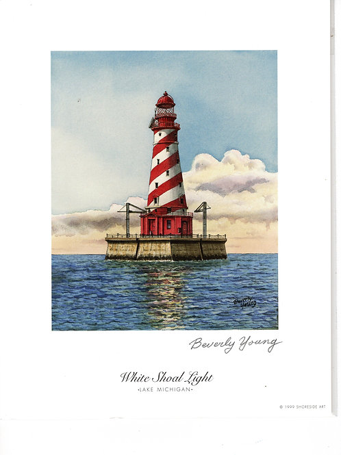 White Shoal Light Print by: Beverly Young