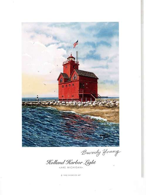 Holland Harbor Light Print by: Beverly Young