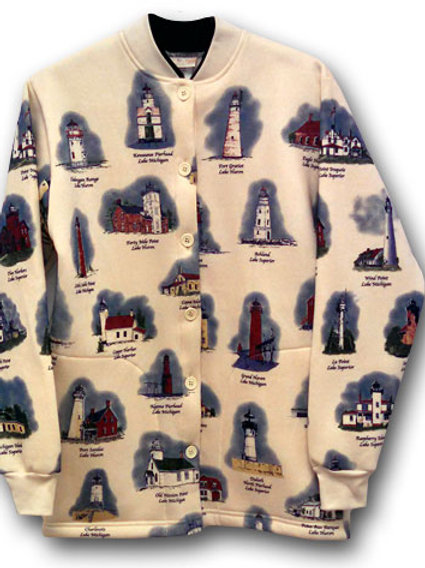Women's Natural Great Lakes Lighthouse Cardigan