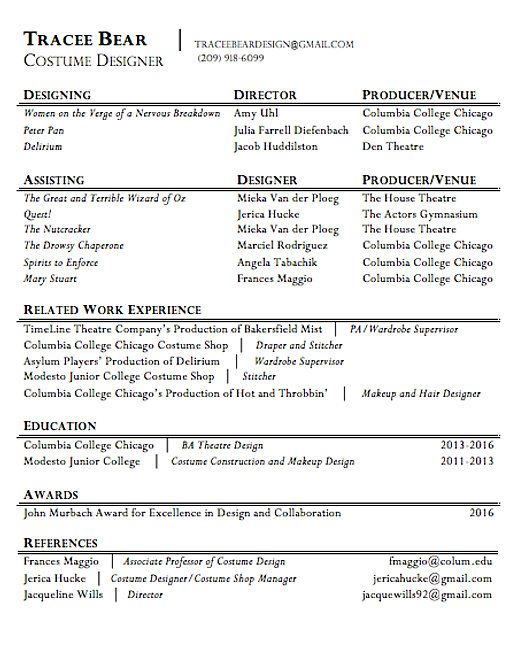 Costumedesign | Resume