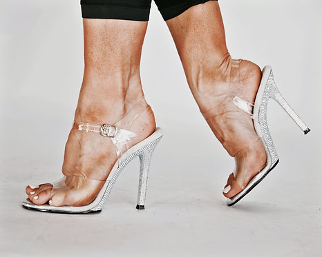 Ankle Strap Diamante Clear Posing Shoes