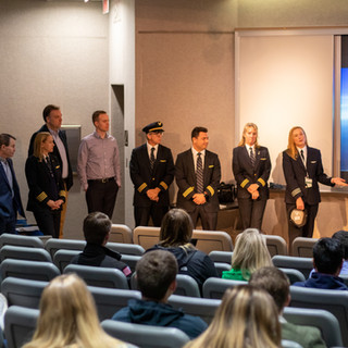 A airline pilot discussion panel filled in for Heather Rider, as she could not make it. Students were able to ask questions about being an airline pilot.