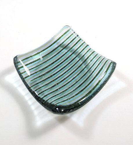 Small trinket tray - Varied Blues Bullseye Glass