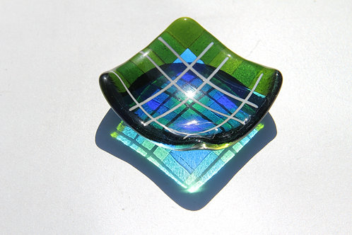 Small trinket tray - Vernal Green & Turqouise Tartan