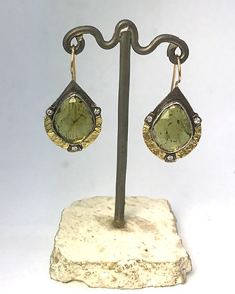 Oxidized Green Tourmaline Earrings