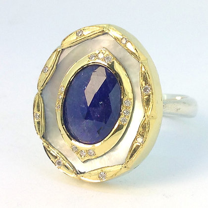 Tanzanite and Mother of Pearl Ring