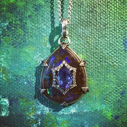 Tanzanite and Boulder Opal Pendant