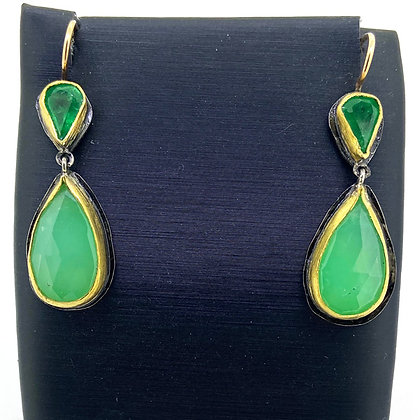 Chrysoprase and Emerald Earrings