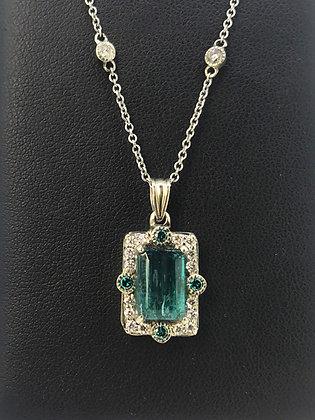 Tourmaline and Blue Diamond Pendant