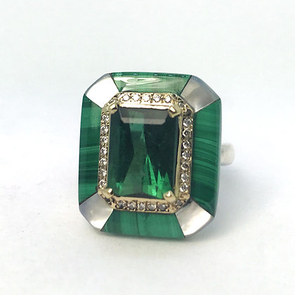Malachite and Green Tourmaline Ring