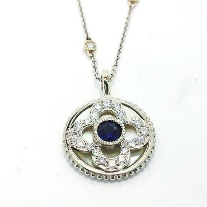 Blue Sapphire Cross Pendant