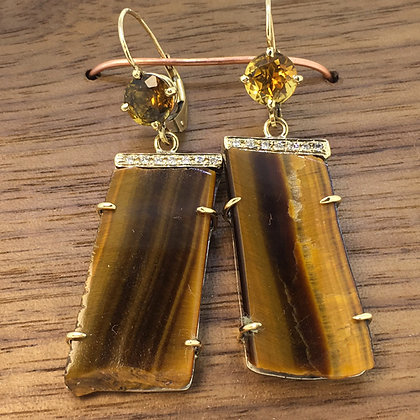 Tiger Eye and Citrine Earrings