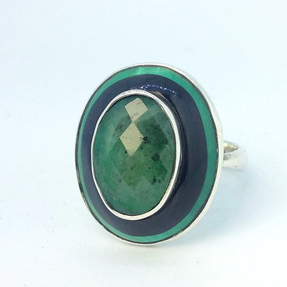Emerald and Jet Ring