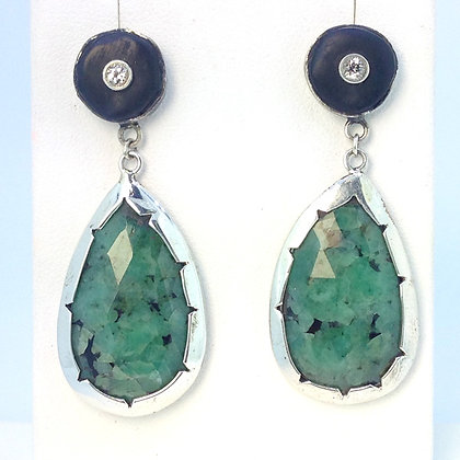 Emerald and Jet Earrings