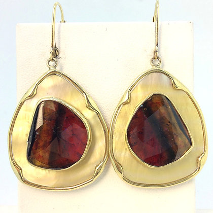 Mother of Pearl and Watermelon Tourmaline Earrings
