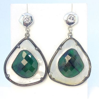 Mother of Pearl and Emerald Earrings