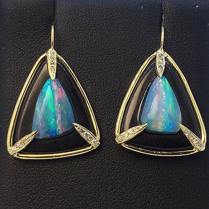 Jet and Opal Earrings
