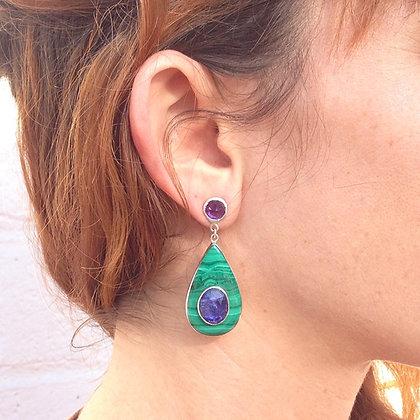 Tanzanite and Malachite Earrings