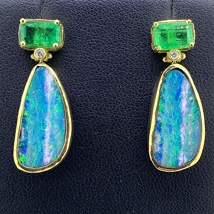 Boulder Opal and Emerald Earrings