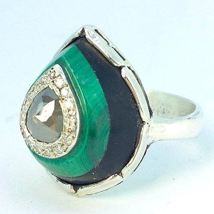 Malachite and Gray Diamond Ring