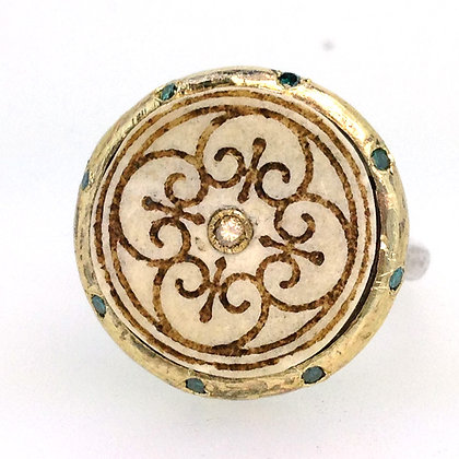Travertine and Blue Diamond Ring