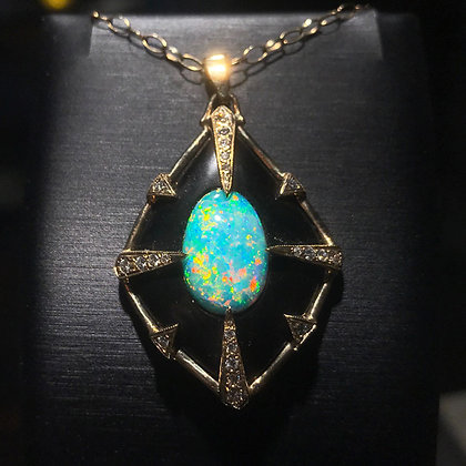 Australian Opal and Jet Pendant