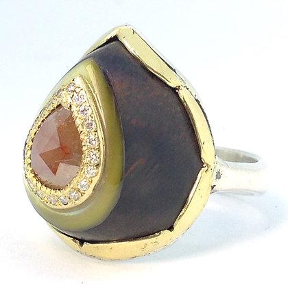 Ironwood and Peach Diamond Ring