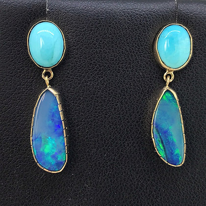 Boulder Opal and Turquoise Earring
