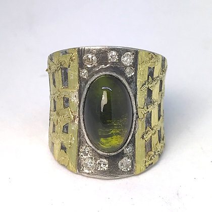 Green Tourmaline Cab Ring