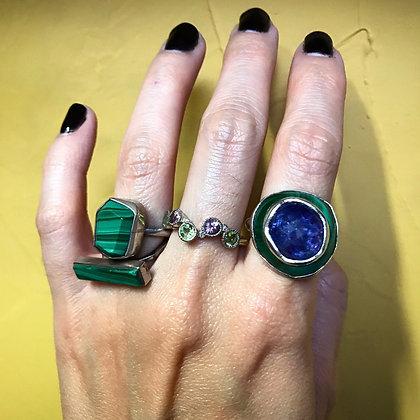 Tanzanite and Malachite Ring