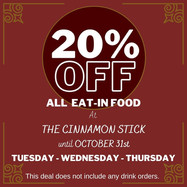 20% Off All Dine-in Food