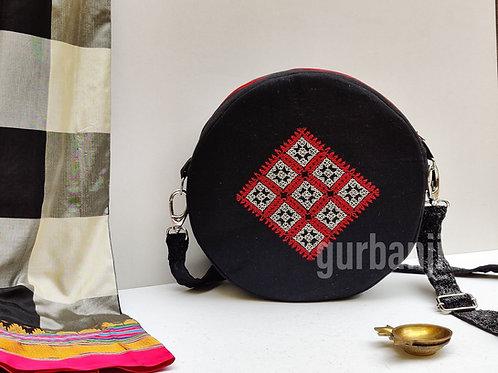 Square in a circle Kasuti Bag