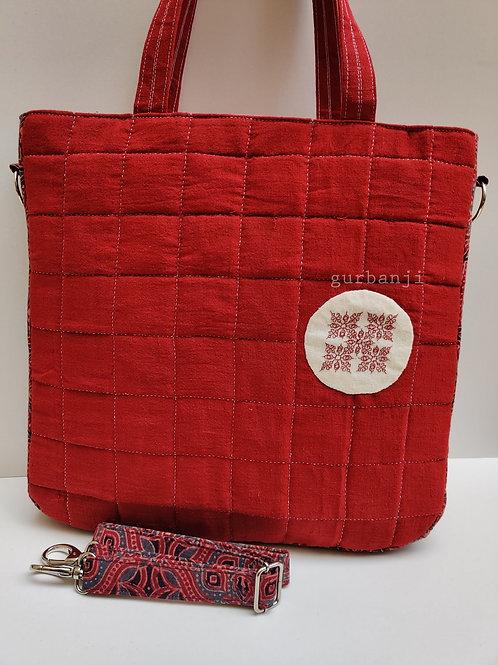 Kempu: Kasuti Oversized Tote Bag