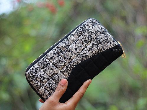 Black posies Quilted wallet