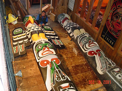 Replicas of two 18' Mungo Martin Totem Poles