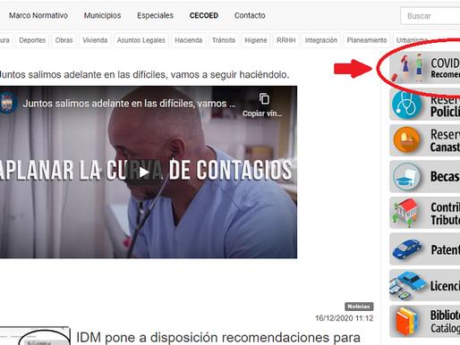 La página oficial de la IDM ofrece recomendaciones para turistas que lleguen al departamento