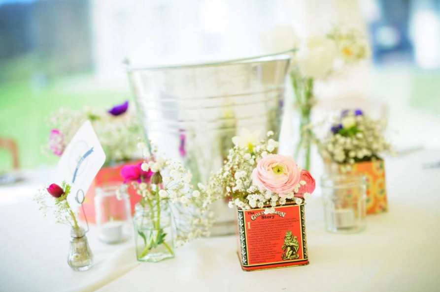 vintage tea tins wedding hire