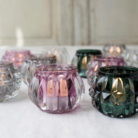 4 COLOUR GLASS TEALIGHT HOLDER BUNDLE