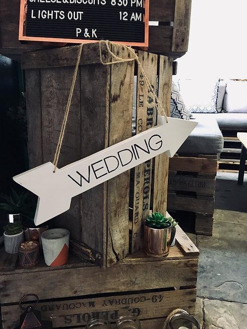 WOODEN HANGING WEDDING ARROW
