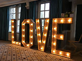 GIANT ILLUMINATED LOVE LETTERS WEDDING HIRE YORKSHIRE