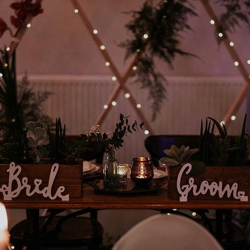 TOP TABLE 'BRIDE & GROOM' SIGNS