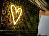 wedding neon heart, mesh folge wall panel