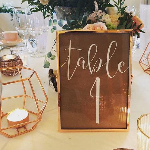 Rose Gold Table Number Frames