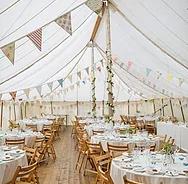 vintage bunting, marquee wedding